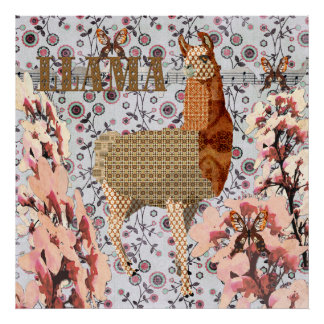 Cherry Blossom Brilliant Bronze Llama Poster