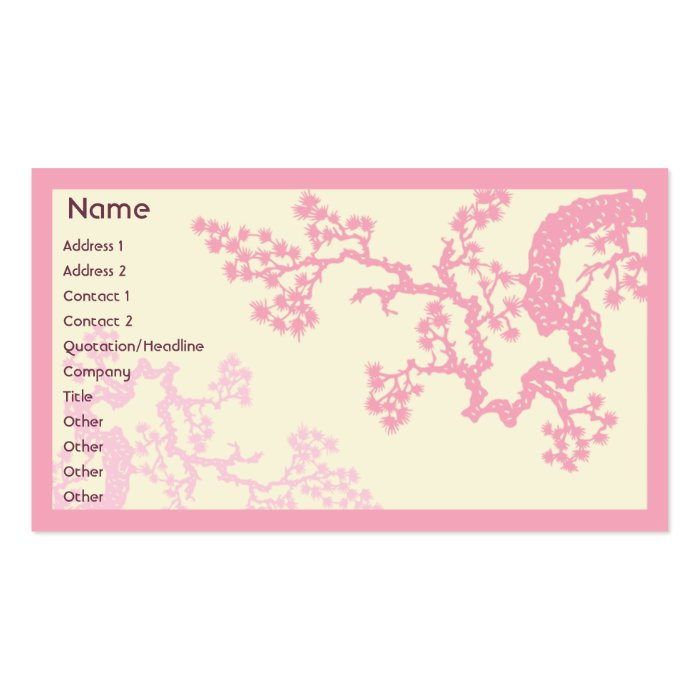 Cherry Blossom - Business Pack Of Standard Business Cards