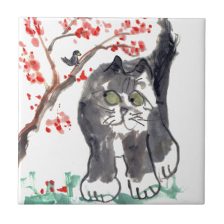Cherry Blossom Cat and Bird Ceramic Tile