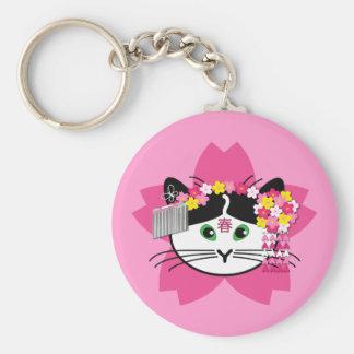 Cherry-blossom cat keychain