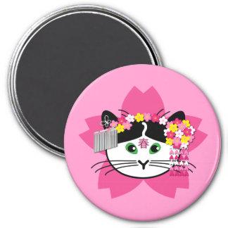 Cherry-blossom cat magnet