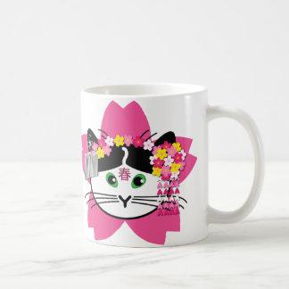Cherry-blossom cat mug