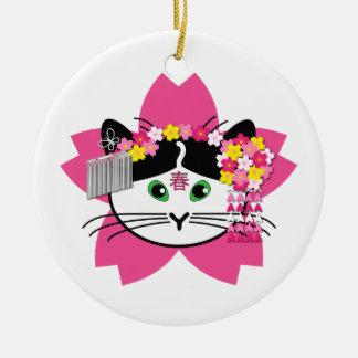 Cherry-blossom cat ornament