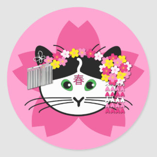 Cherry-blossom cat stickers