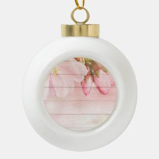 Cherry Blossom Ceramic Ball Christmas Ornament