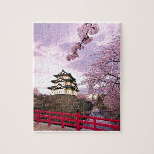 Cherry Blossom Chinese Castle Jigsaw Puzzle