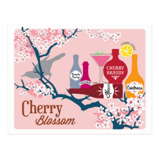 Cherry Blossom Cocktail Postcard