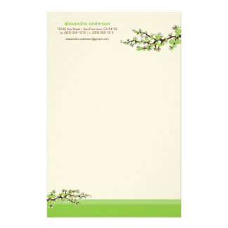 Cherry Blossom Custom Stationery (green)
