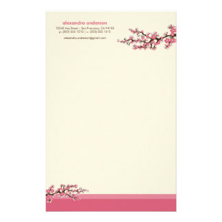 Cherry Blossom Custom Stationery (pink)