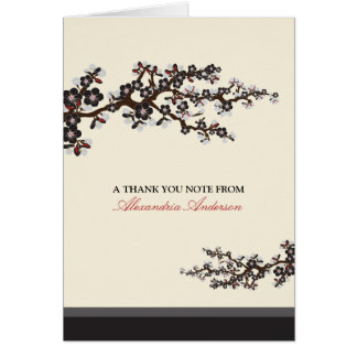 Cherry Blossom Custom Thank You Card (black)