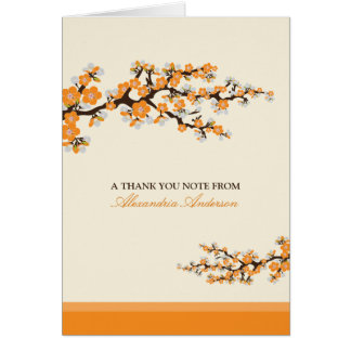 Cherry Blossom Custom Thank You Card (orange)