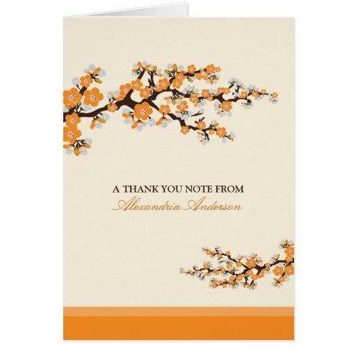 Cherry Blossom Custom Thank You Card (orange)