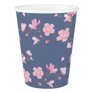 Cherry Blossom - Denim Blue Paper Cup