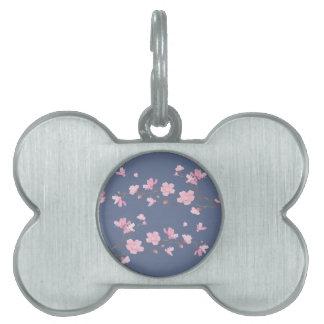 Cherry Blossom - Denim Blue Pet Tag