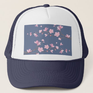 Cherry Blossom - Denim Blue Trucker Hat