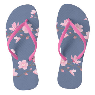 Cherry Blossom - Denim Thongs