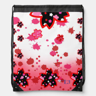 Cherry blossom design 5 drawstring bag