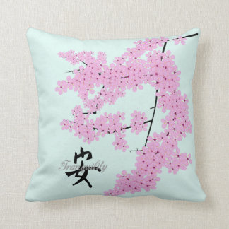 Cherry Blossom Design, with Pale Jade backgroun Cushion