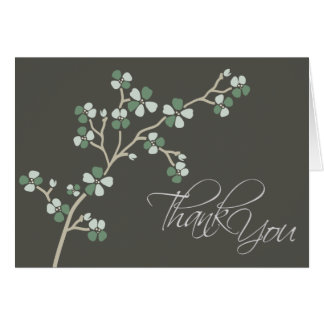 Cherry Blossom Designer Thank You Card (sage)