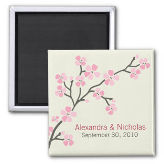 Cherry Blossom Designer Wedding Favor 2 (pink) Square Magnet