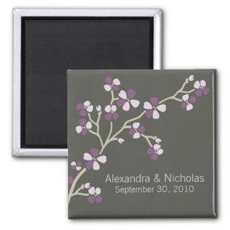 Cherry Blossom Designer Wedding Favor (plum) Square Magnet