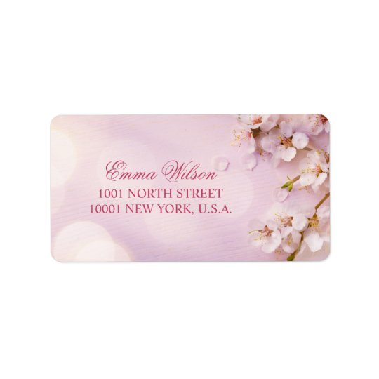 Cherry Blossom Elegant Wedding Address Labels