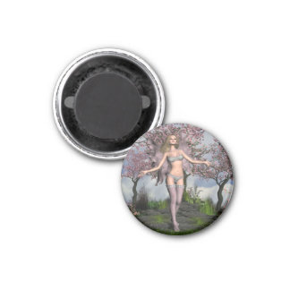 Cherry Blossom Fairy with Cherry Tree background Magnets