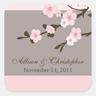 Cherry Blossom Favor Wedding Square Sticker Seal