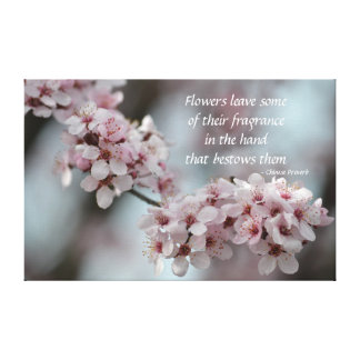 Cherry Blossom Floral Stretched Canvas Print