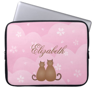 Cherry Blossom Floral Cat Couple in Love Monogram Laptop Sleeve