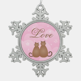 Cherry Blossom Floral Cat Couple Love Calligraphy Snowflake Pewter Christmas Ornament