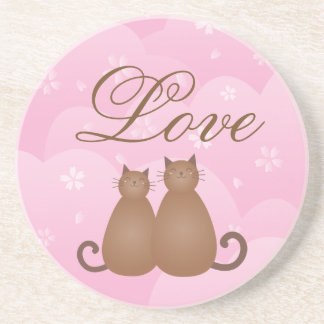 Cherry Blossom Floral Cute Cat Couple Calligraphy Coaster
