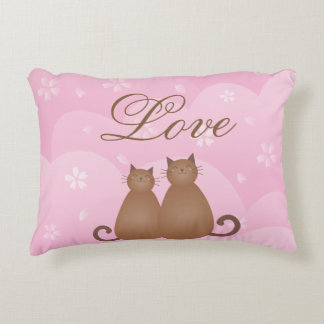 Cherry Blossom Floral Cute Cat Couple Calligraphy Decorative Cushion