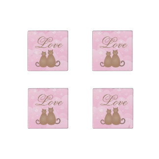 Cherry Blossom Floral Cute Cat Couple Calligraphy Stone Magnet