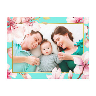 Cherry Blossom Floral Frame Custom Photo Canvas Print