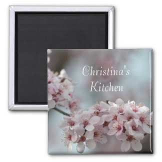 Cherry Blossom Floral Square Magnet