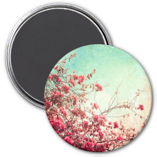 Cherry Blossom Flowers Floral Red Blue Magnet