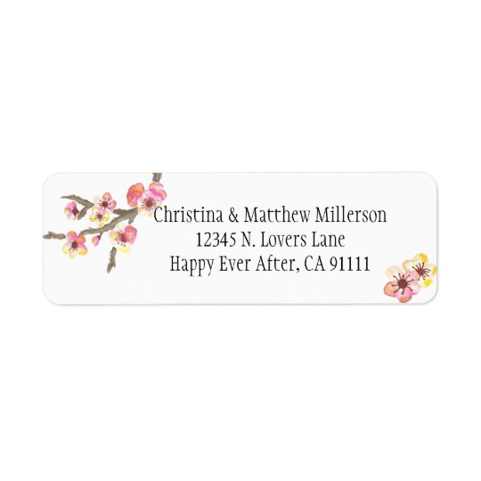 Cherry Blossom Flowers Return Address Label