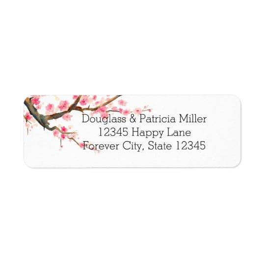 Cherry Blossom Flowers Return Address Label