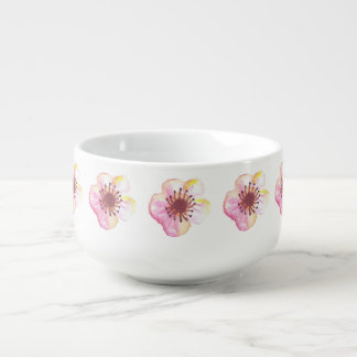 Cherry Blossom Flowers Soup Bowl With Handle