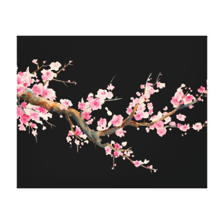 Cherry Blossom Flowers Stretched Canvas Print