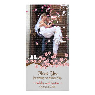 Cherry Blossom Garden Thank You Photo Personalised Photo Card