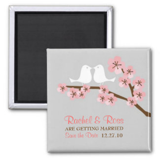 Cherry Blossom Garden Wedding Save the Date Square Magnet