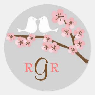 Cherry Blossom Garden Wedding Round Stickers