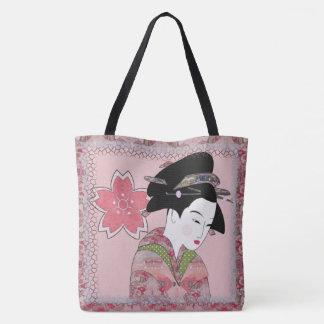 Cherry Blossom Geisha Tote Bag