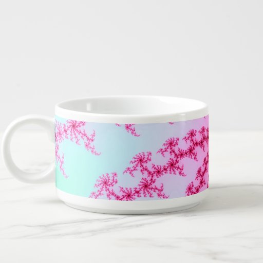 Cherry Blossom - Gentle Pink Fractal Swirls Chili Bowl