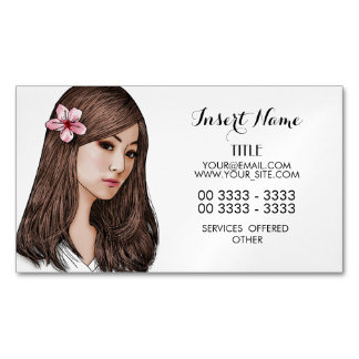 Cherry Blossom Girl Magnetic Business Cards