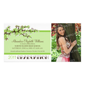 Cherry Blossom Graduation Announcement (green) Photo Card Template