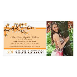 Cherry Blossom Graduation Announcement (orange) Picture Card