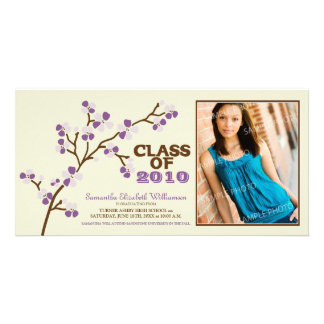 Cherry Blossom Graduation Announcement (purple) Personalised Photo Card